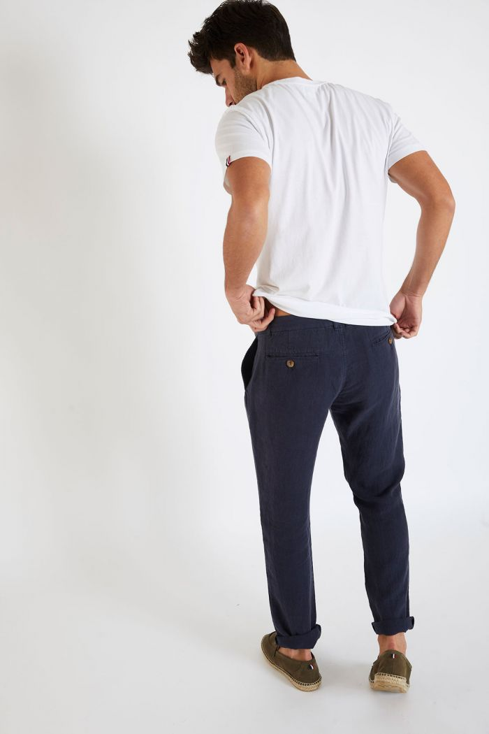 Pantalon en lin marine - CHINO LIN