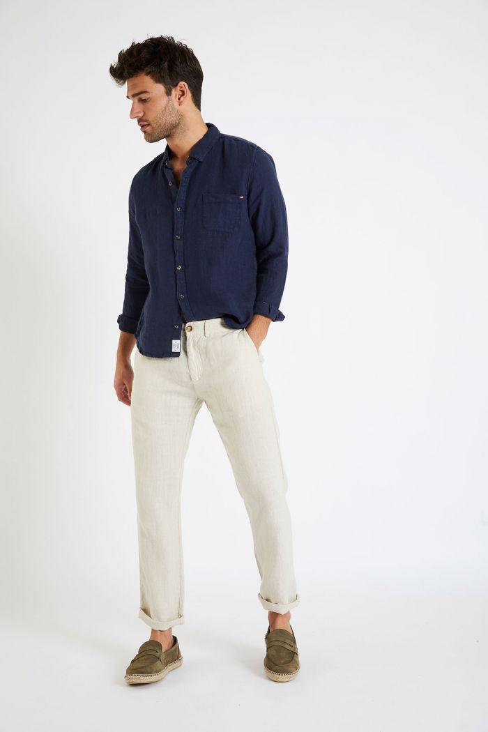 Pantalon en lin beige - CHINO LIN