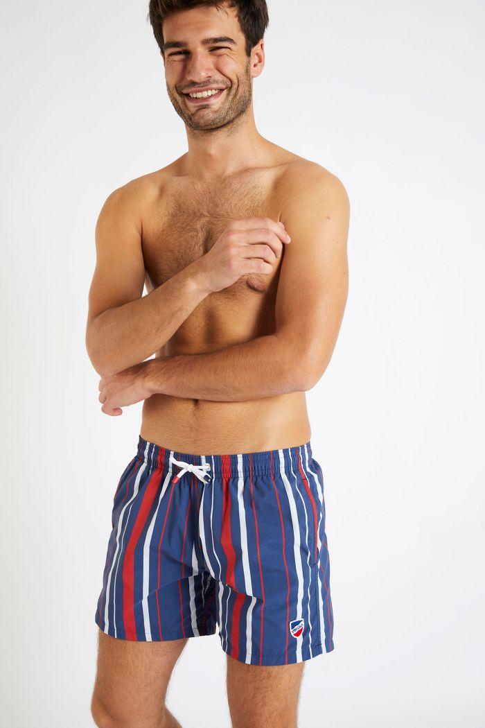 Short de bain à rayures bleu rouge et blanc MANU CAPO
