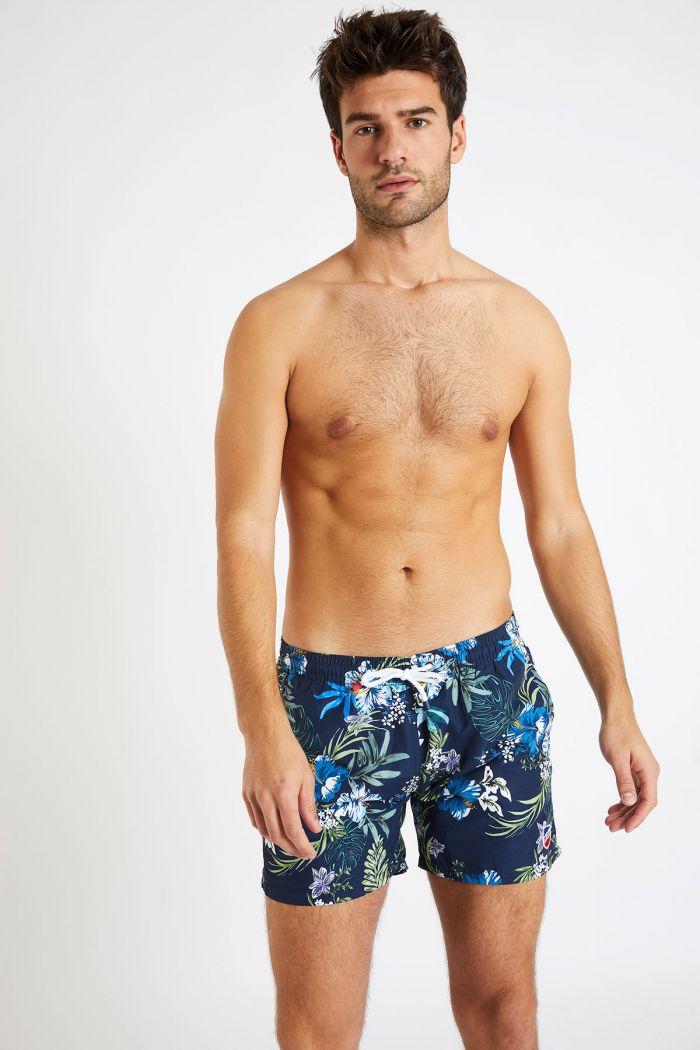 Short de bain marine imprimé tropical MANU MOLOA
