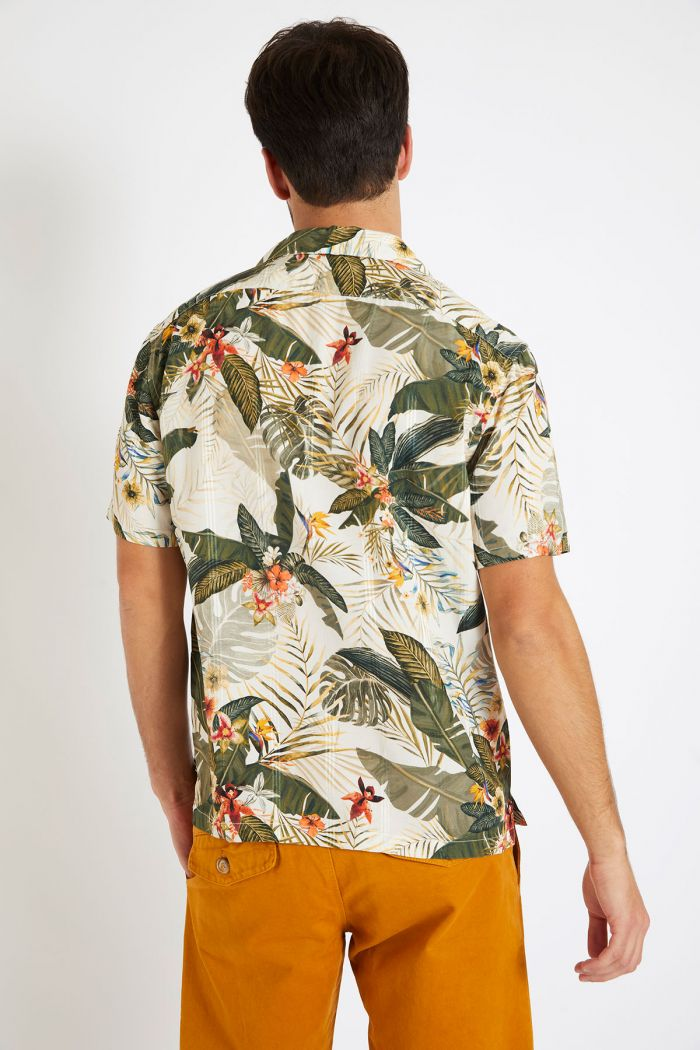 Chemise manches courtes kaki motif tropical STEFANO KEALIA