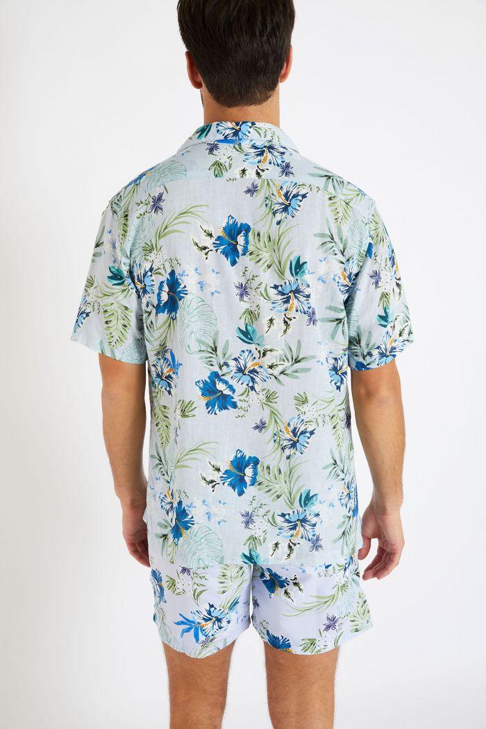 Chemise manches courtes bleu ciel à fleurs STEFANO MOLOA