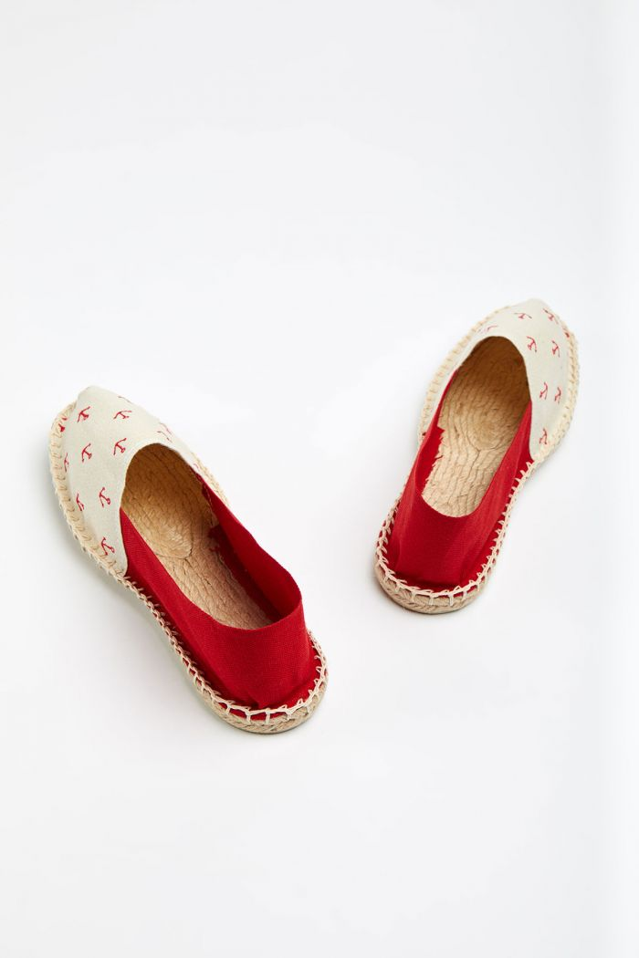 Espadrilles en toile Broderie Ancre Rouge et Ecru - Made in France CLASSIQUE BRODERIE