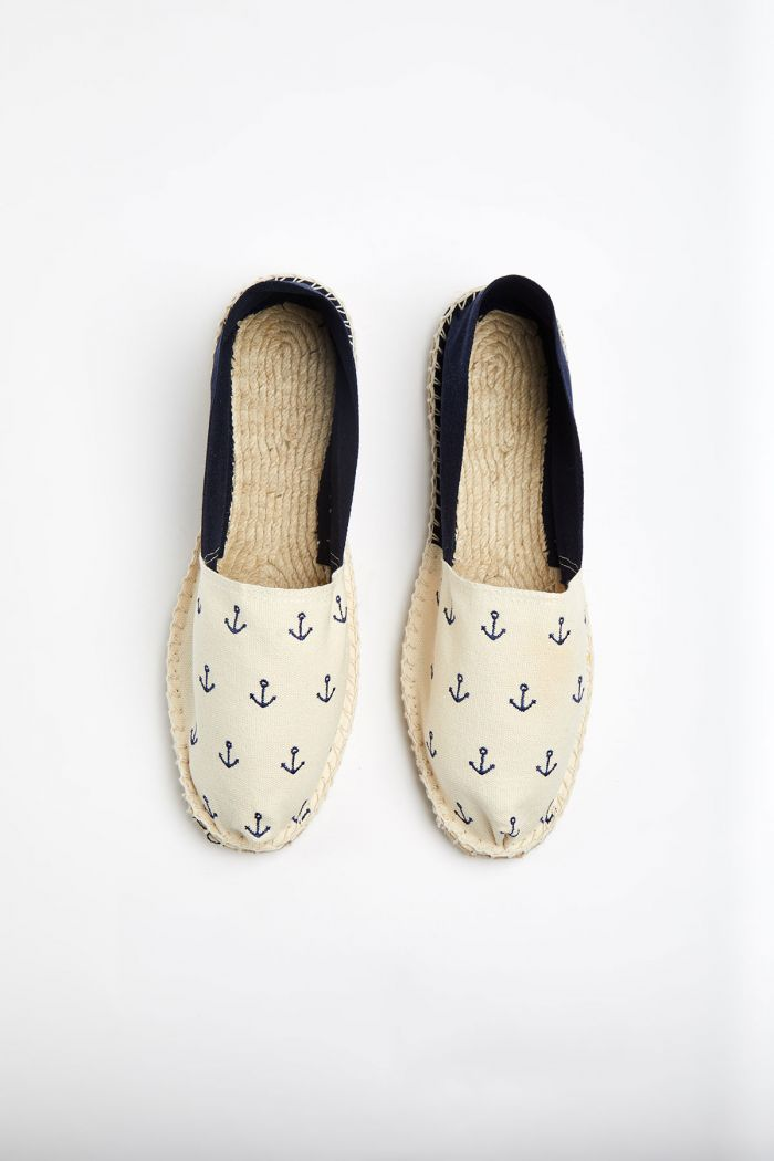 Espadrilles en toile Broderie Ancre Marine et Ecru - Made in France CLASSIQUE BRODERIE