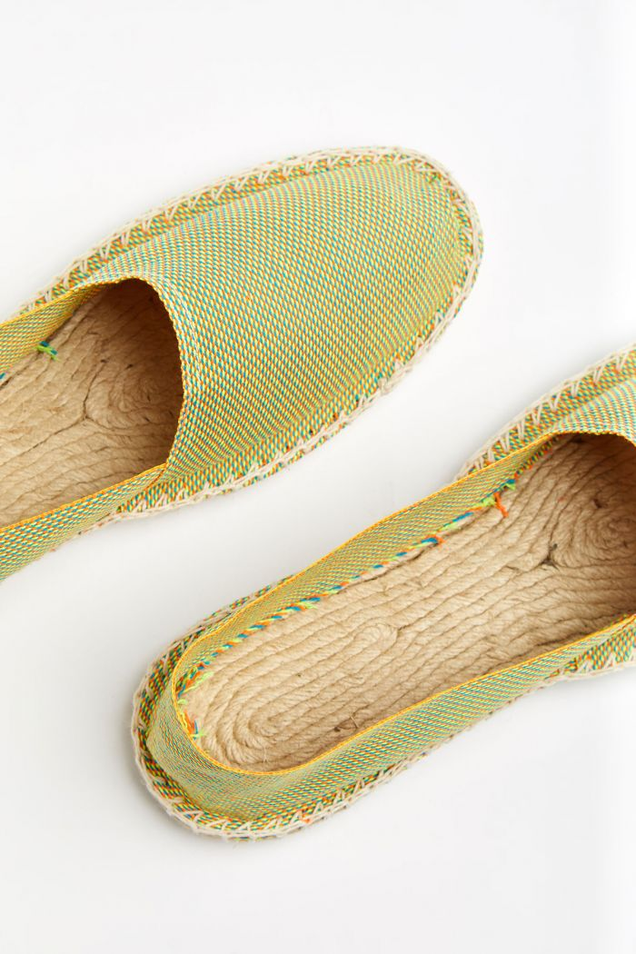 Espadrilles en toile Multi Fluo Orange - Made in France CLASSIQUE MULTIFLUO
