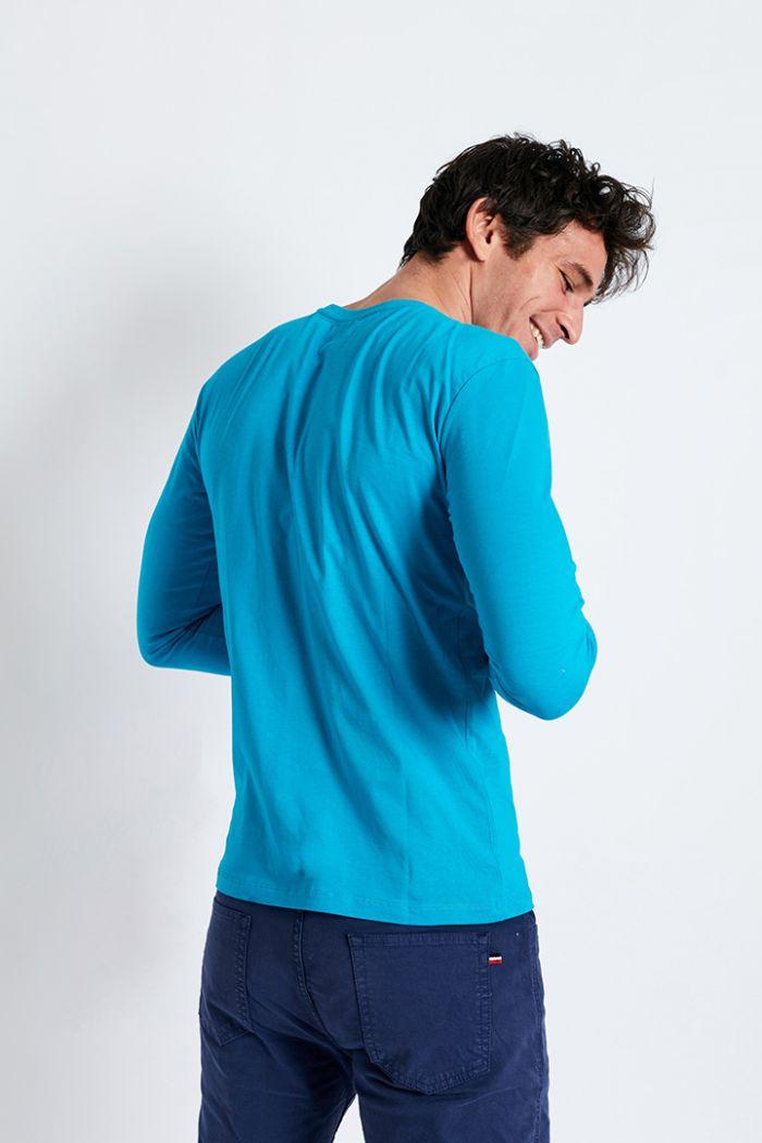 T-shirt manches longues bleu lagon écusson silicone TSML UNI