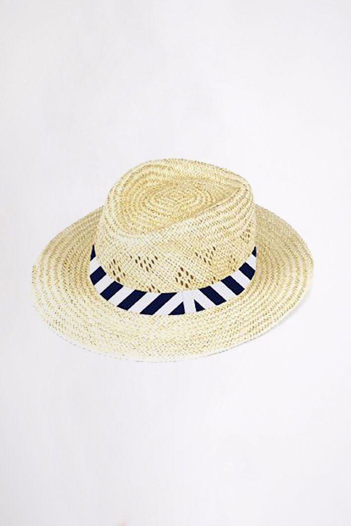 Chapeau de plage à rayures graphique Marine PALMA GEO