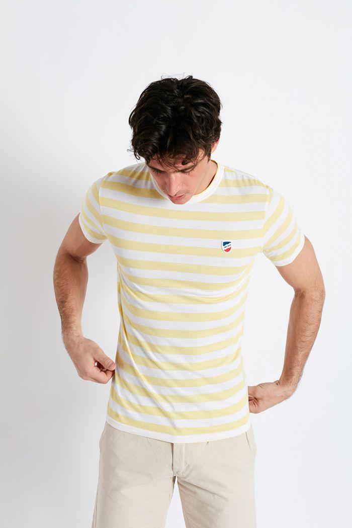 T-shirt manches courtes Marinière Jaune Paille écusson TSMC MARINCALA