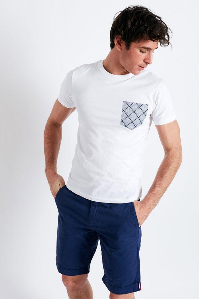 T-shirt manches courtes blanc Poche imprimé losange graphique TSMC MOSAIQUECALA