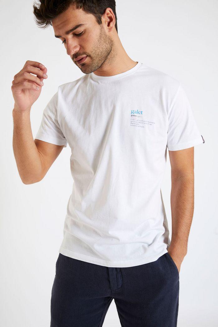 T-shirt blanc en coton - Galet YANNGAL DICTIO
