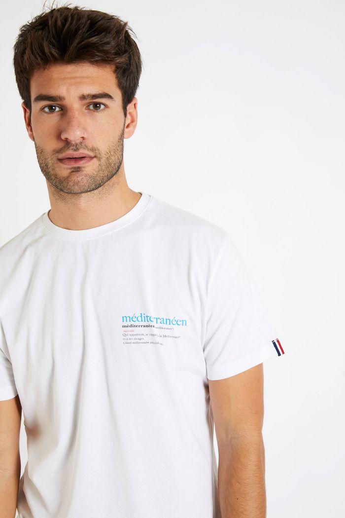 T-shirt blanc en coton - Méditerranéen YANNMED DICTIO