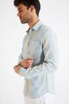Chemise manches longues à rayures bleu ciel PIERRE SALARI