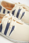 Espadrilles Ecru à lacets à rayures Bleu Marine RIVA SUN