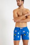 Short de bain bleu - Broderie drapeaux SWIMSHORT BRODFLAG