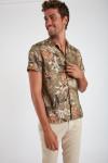 Chemise manches courtes kaki à fleurs STEFANO MAUI