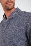 Chemise bleue marine en coton à motifs PIERRE FOGGIA