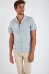 Chemise manches courtes bleu à rayures STEFANO ALAGGIO