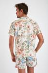Chemise manches courtes écru à fleurs STEFANO SANTALINA
