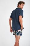 Chemise manches courtes marine à rayures STEFANO SEVANI