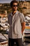 Chemise manches courtes marine à rayures STEFANO SPINOLA