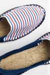 Espadrilles en toile Indigo et Rayures Bleu Blanc Rouge - Made in France CLASSIQUE BICOLORE