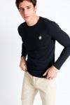 T-shirt manches longues bleu marine écusson silicone TSML UNI