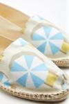Espadrilles en toile imprimé parasol Ecru et Lagon - Made in France CLASSIQUE PARASOLCALA