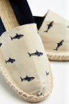 Espadrilles en toile broderie requin Marine et Ecru - Made in France CLASSIQUE SHARKCALA