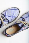 Espadrilles à lacets Riviera losange graphique Marine et Blanc
