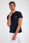 T-shirt manches courtes Marine Poche bordure Bleu Blanc Rouge TSMC CHINE