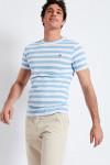 T-shirt manches courtes Marinière Bleu Ciel écusson TSMC MARIN