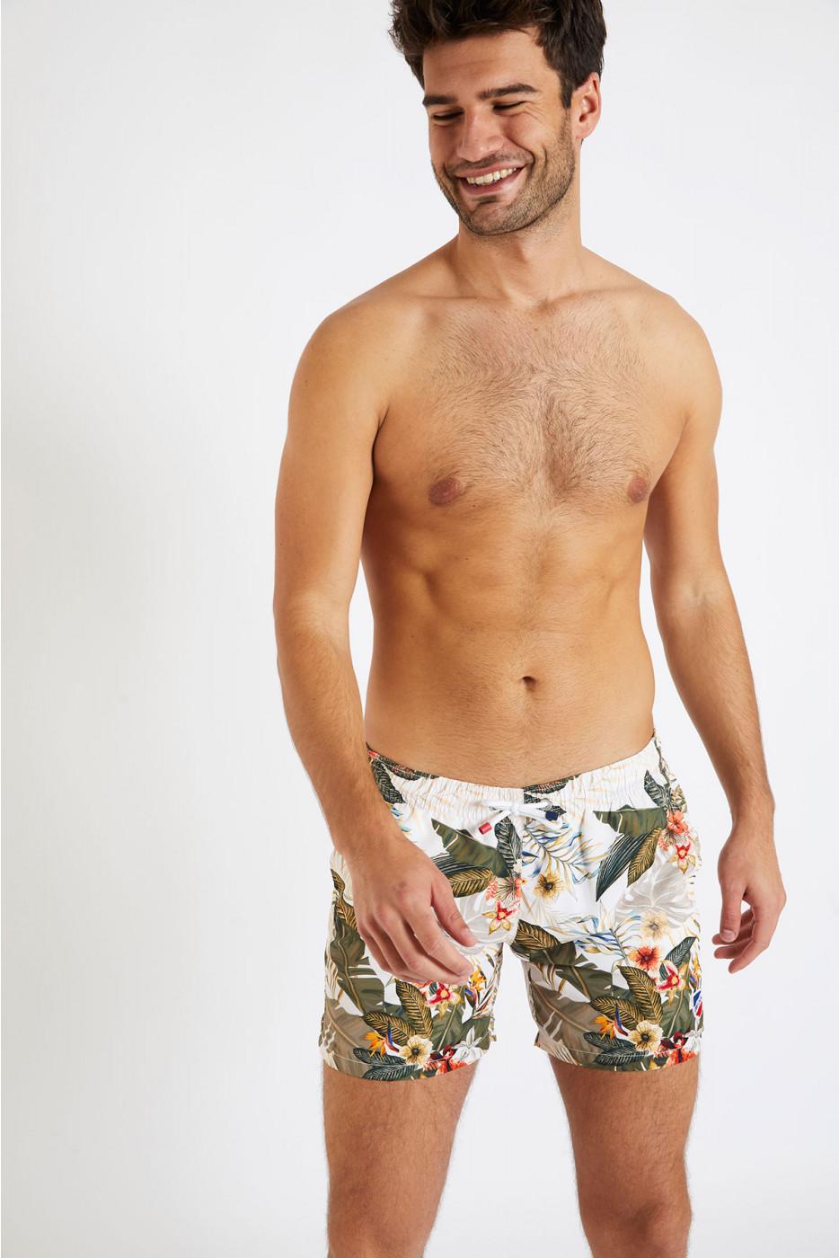 Short de bain kaki imprimé tropical MANU KEALIA