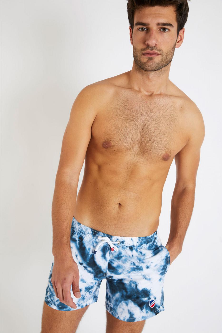 Short de bain tie and dye bleu et blanc MANU PHARE