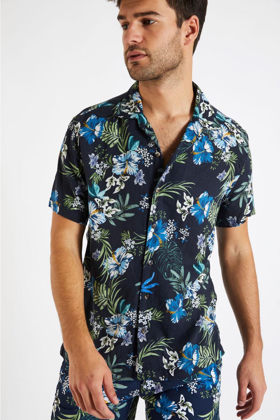 Chemise manches courtes bleu marine à fleurs STEFANO MOLOA