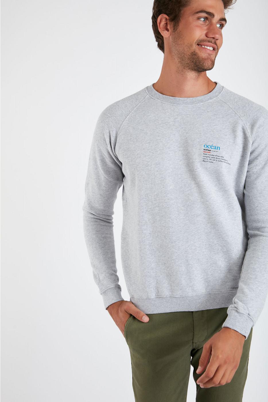 Sweatshirt gris chiné en coton Eté Indien MELVININDI DICTIO