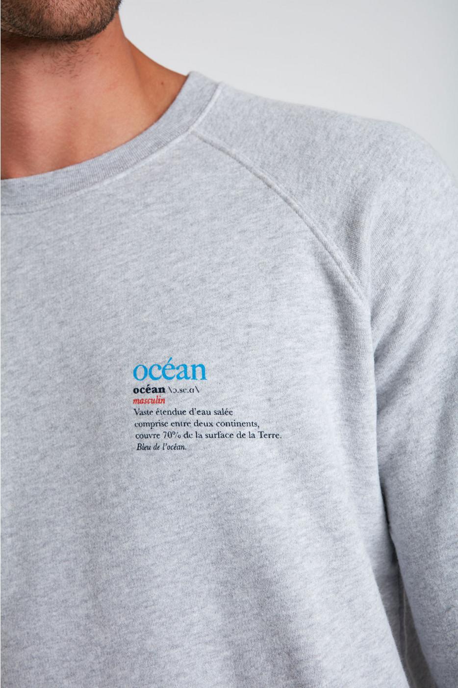 Sweatshirt gris chiné en coton Océan MELVINOCEA DICTIO