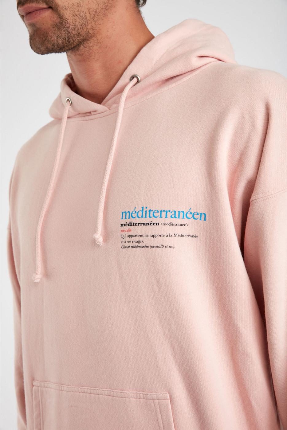 Sweatshirt rose en coton Méditerranéen VINCENTMED DICTIO