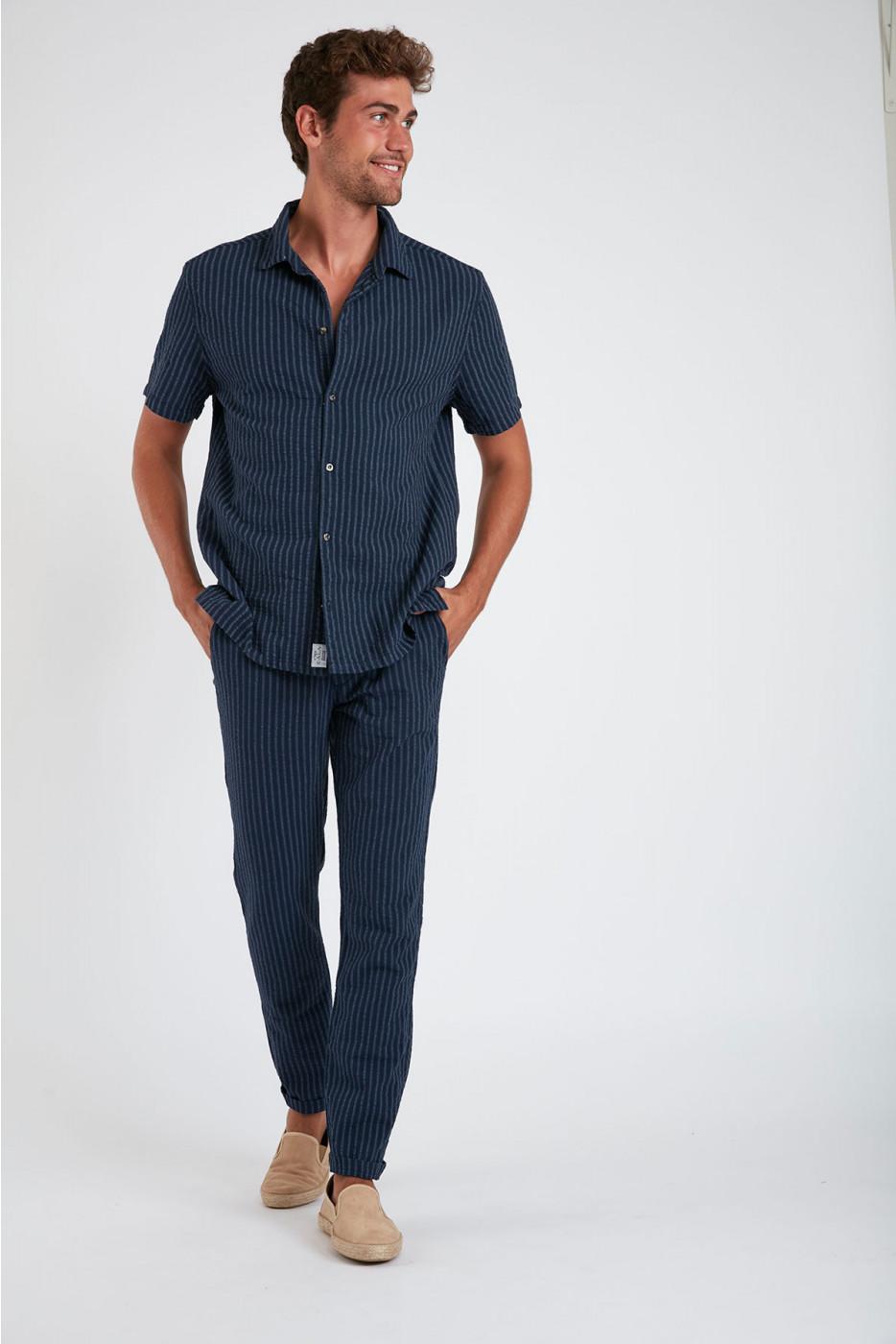 Pantalon à rayures en coton marine - CHINO UNI