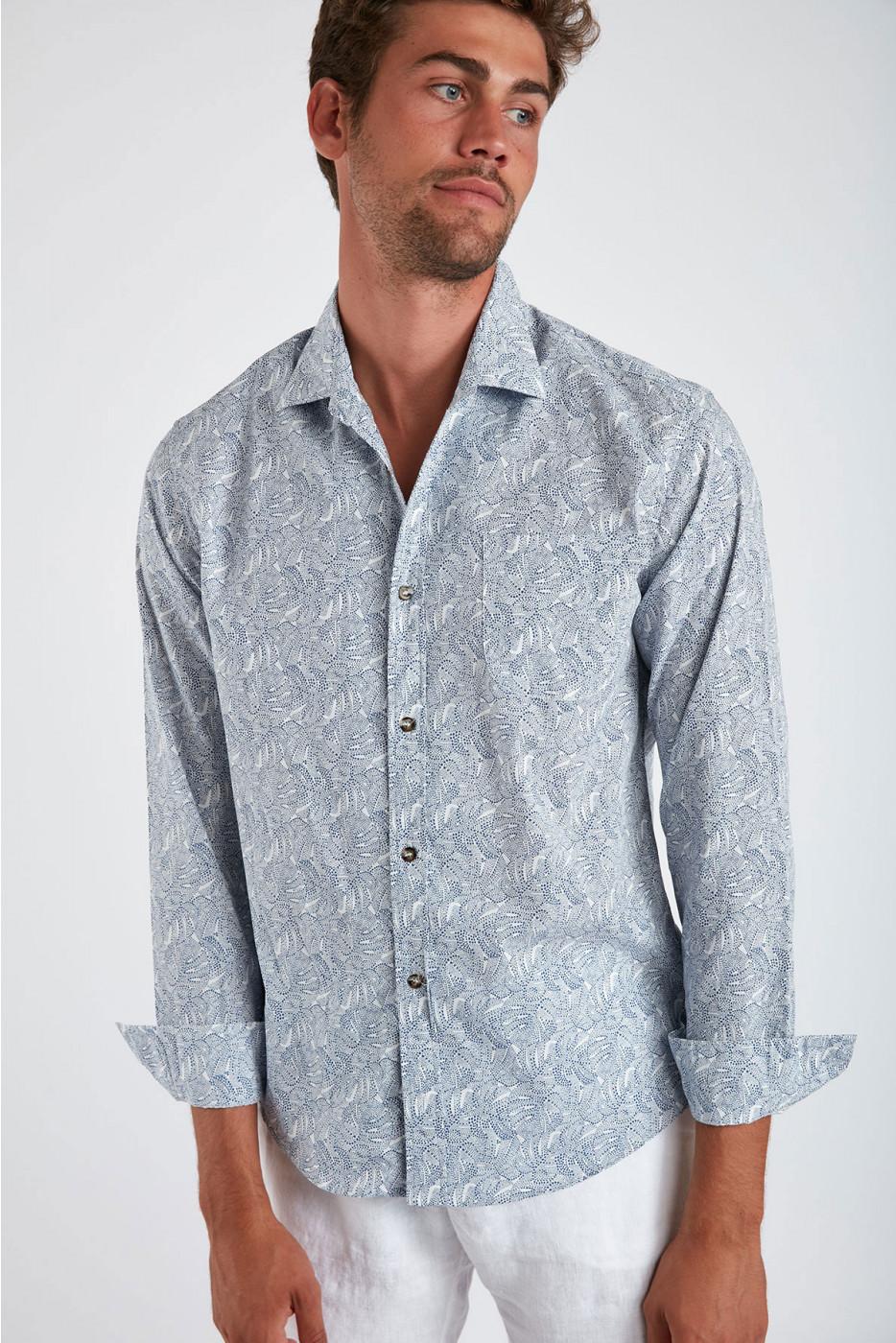 Chemise bleue en coton à motifs PIERRE NOVARE