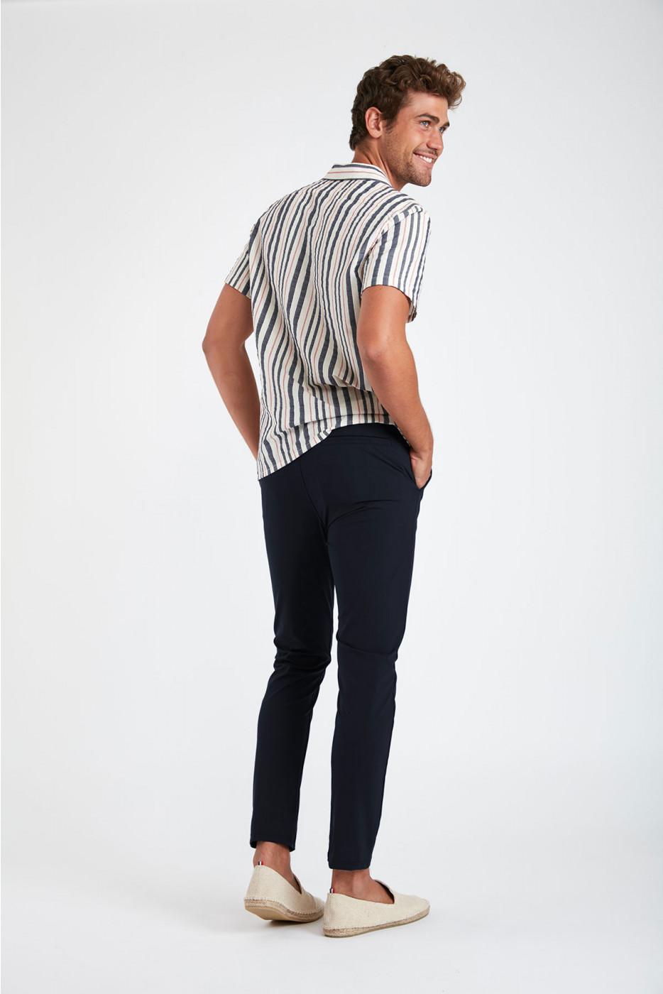Pantalon stretch bleu marine - SERGE LESCADA