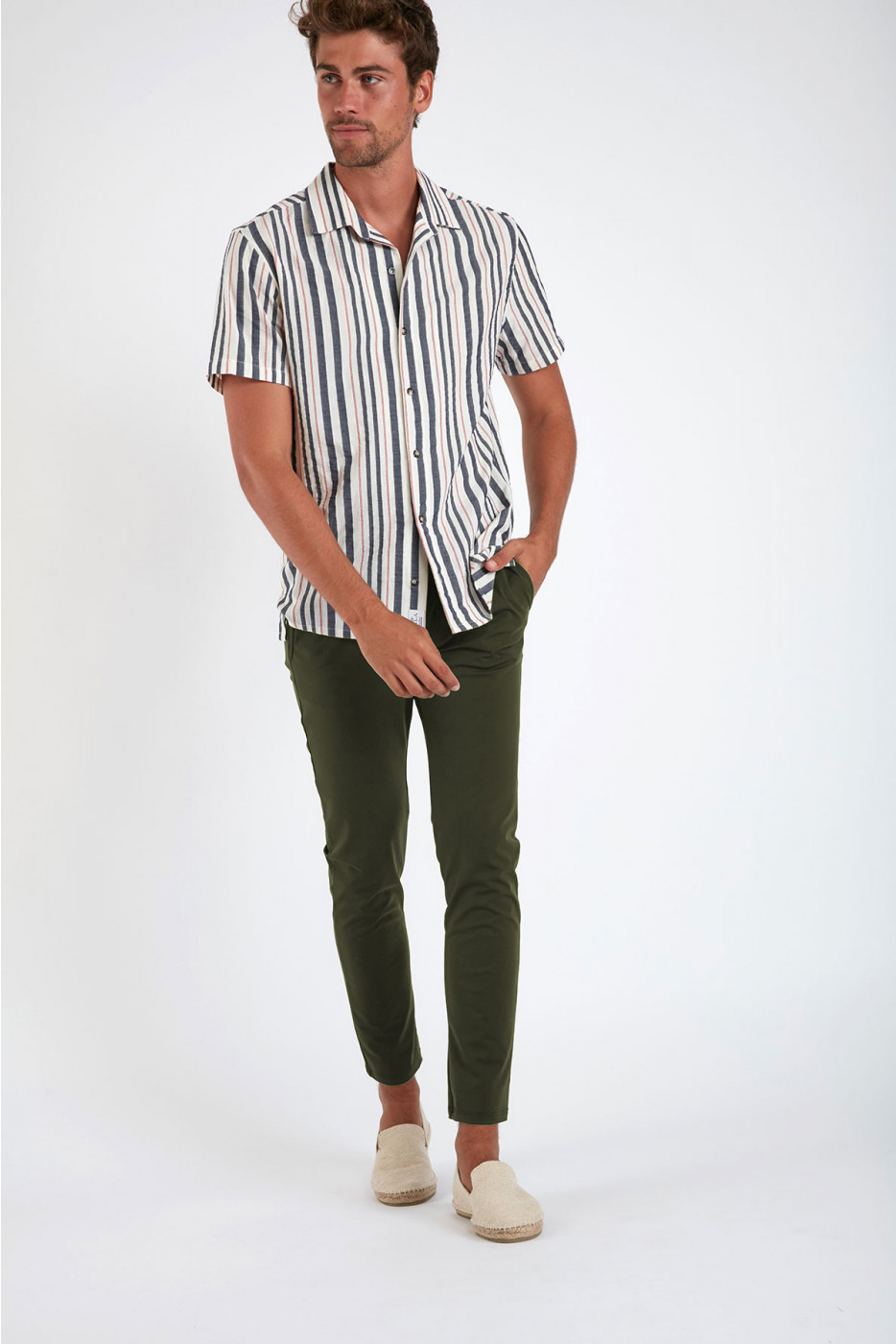 Pantalon stretch kaki - SERGE LESCADA