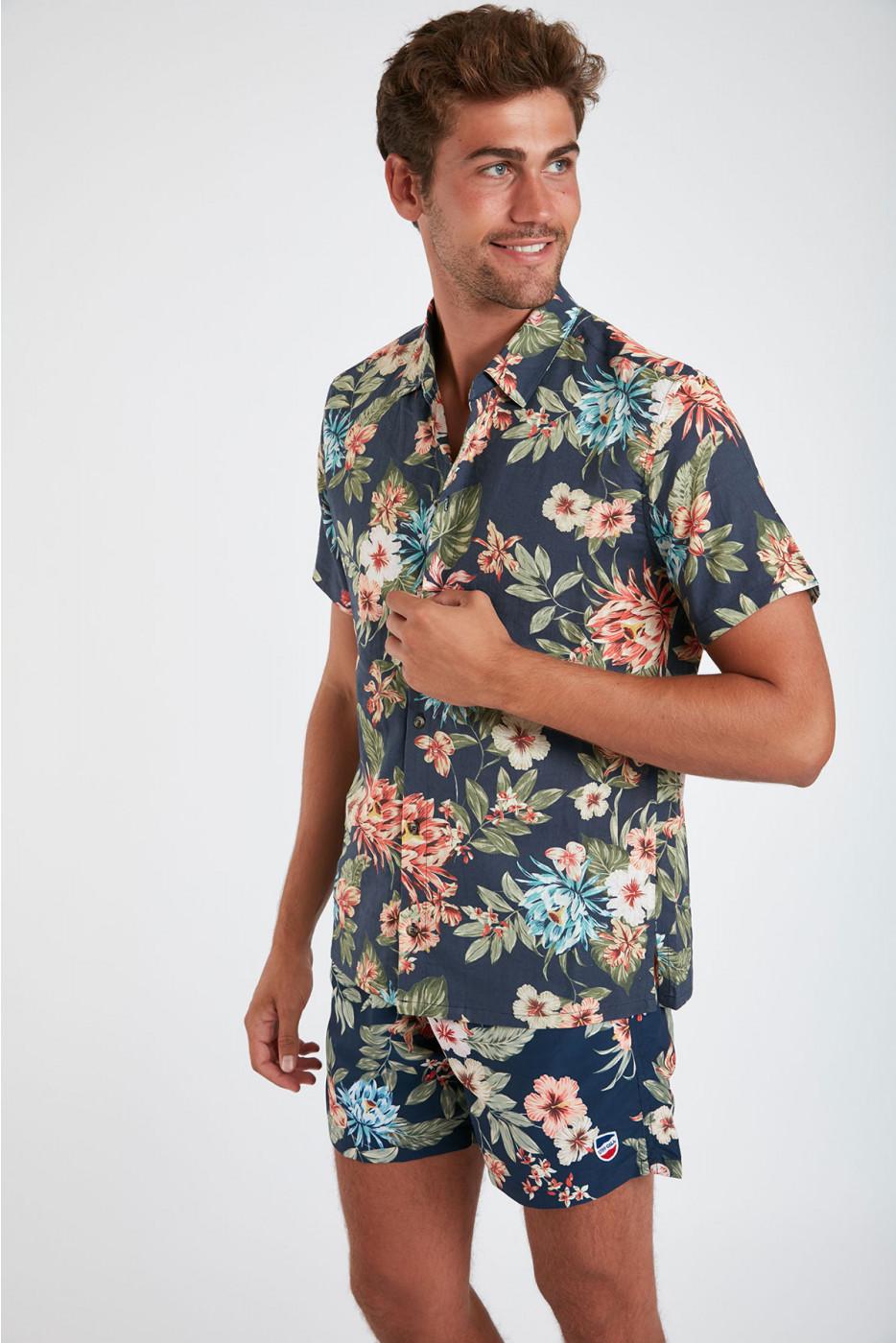 Chemise manches courtes marine à fleurs STEFANO SANTALINA