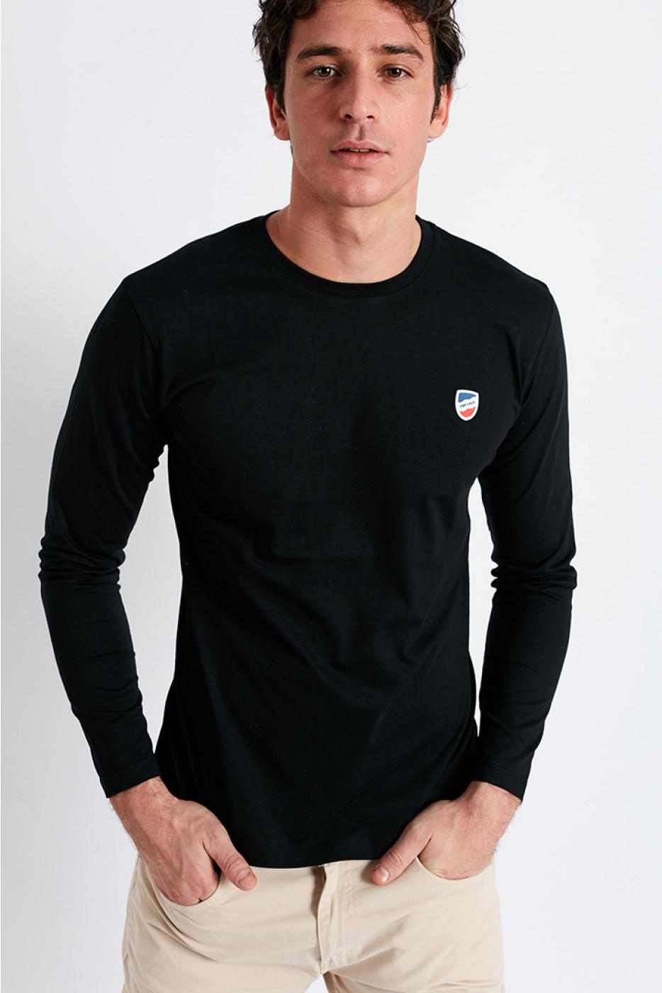 T-shirt manches longues Noir écusson silicone TSML UNI