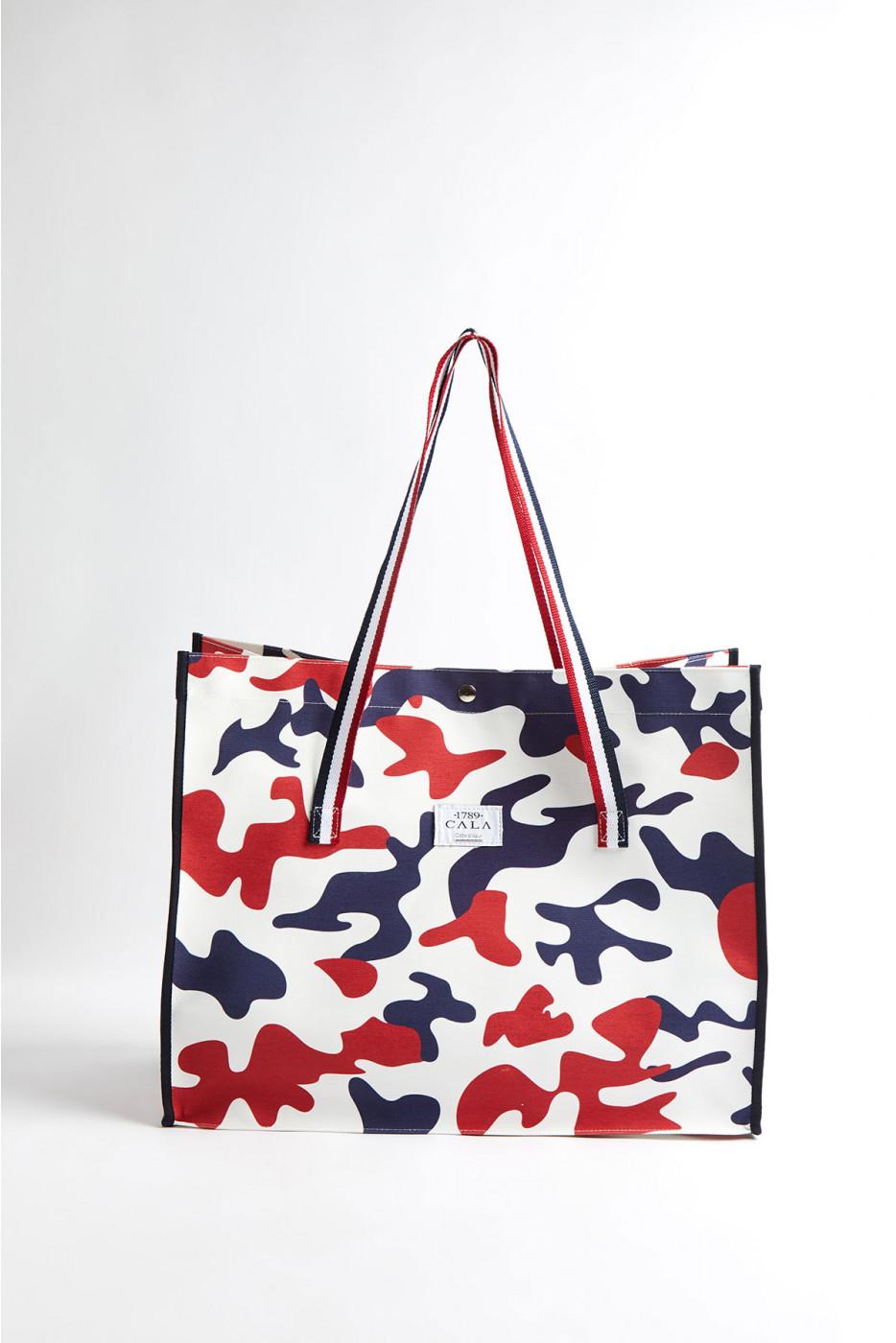 Cabas de plage motif camouflage bleu blanc rouge CABAS CAMO