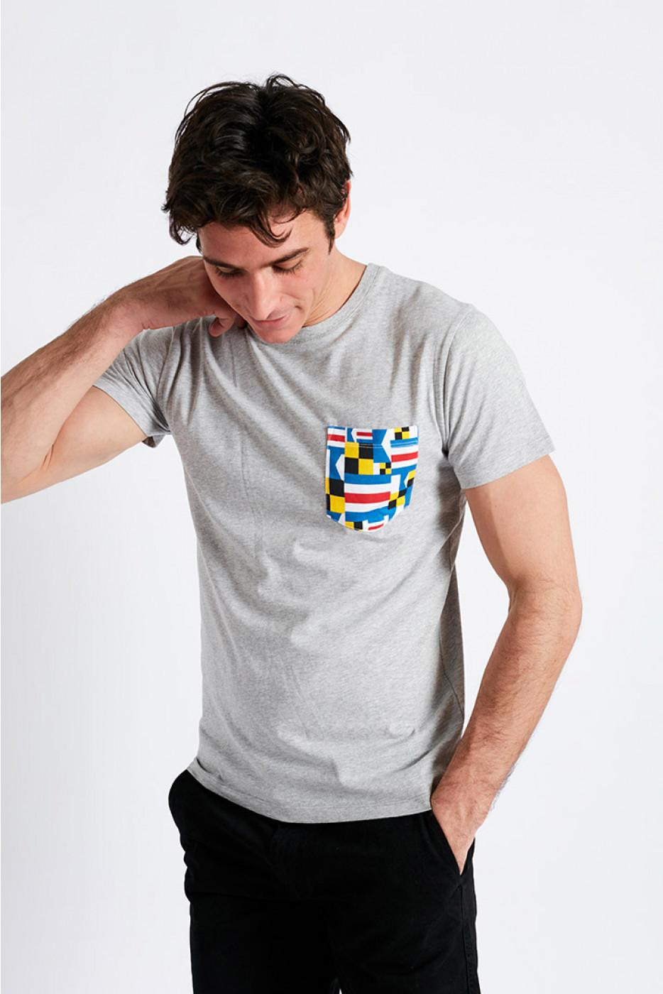 T-shirt manches courtes gris Poche motif pavillon multicolore TSMC PAVILLONCALA