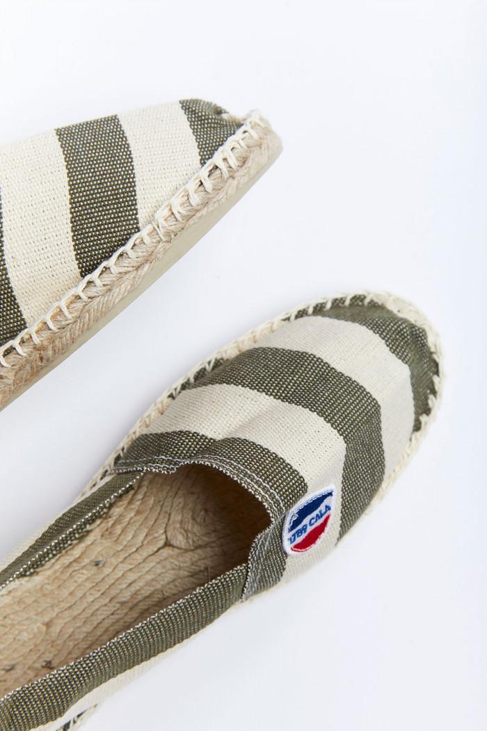 Espadrilles classique rayé kaki et blanc CLASSIQUE GOLFO