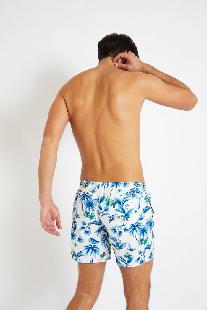 Short de bain blanc et bleu imprimé tropical MANU HAENA
