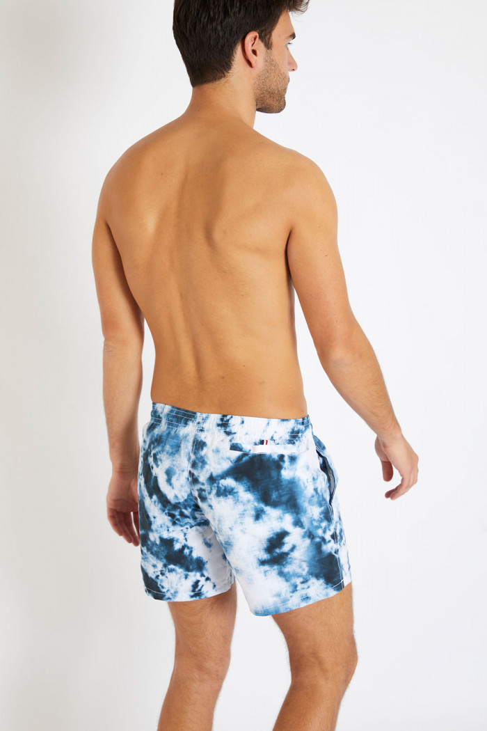 Short de bain tie and dye bleu et blanc MANU PHARE