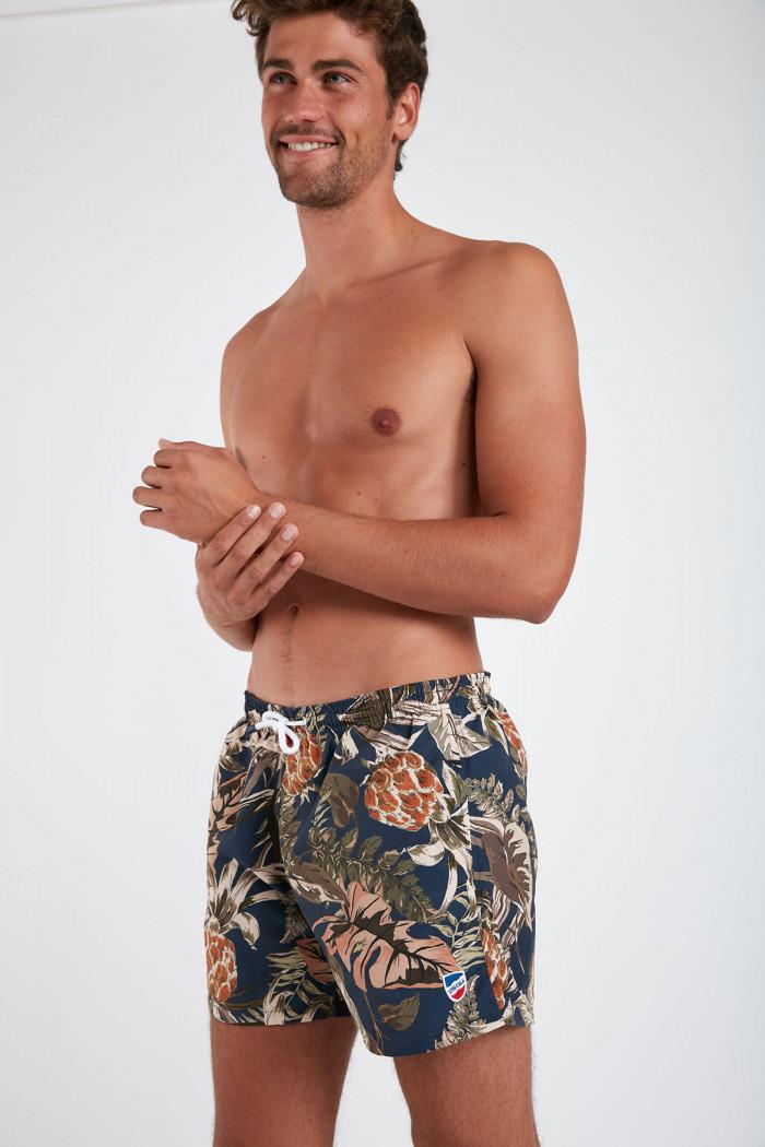Short de bain imprimé fleurs marine MANU MAUI