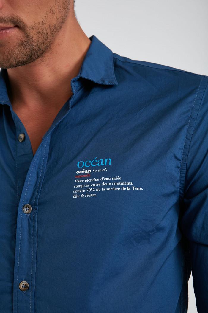 Chemise bleue encre en coton Océan PIERREOCEAN DICTIO